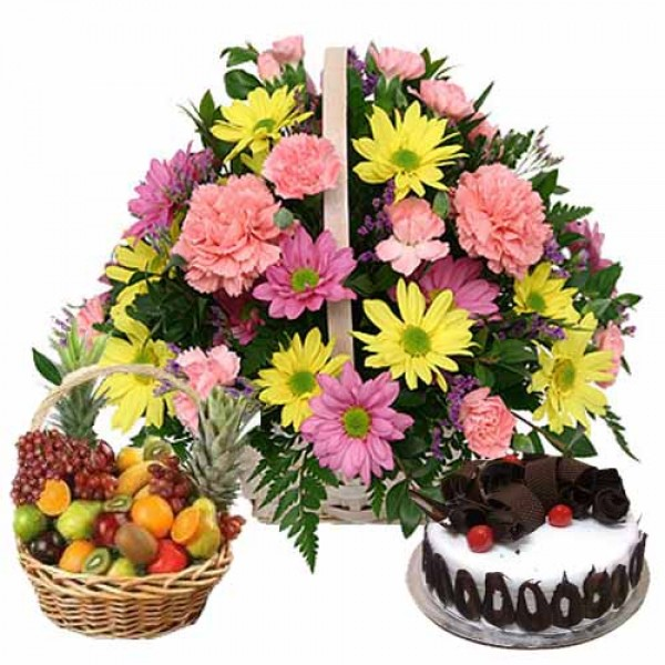 Flowers With Fruit Basket