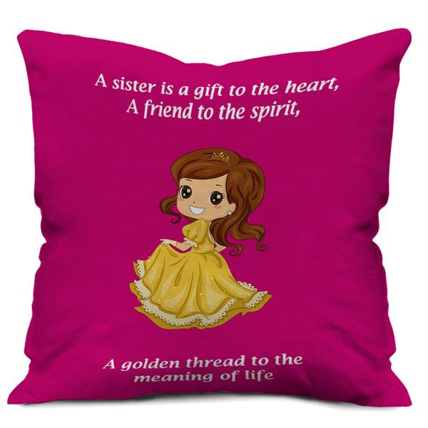 Printed Satin Cushion Cover Pink