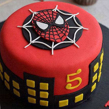 Round Fondant Spiderman Cake 1kg Flowerscakesonline Com